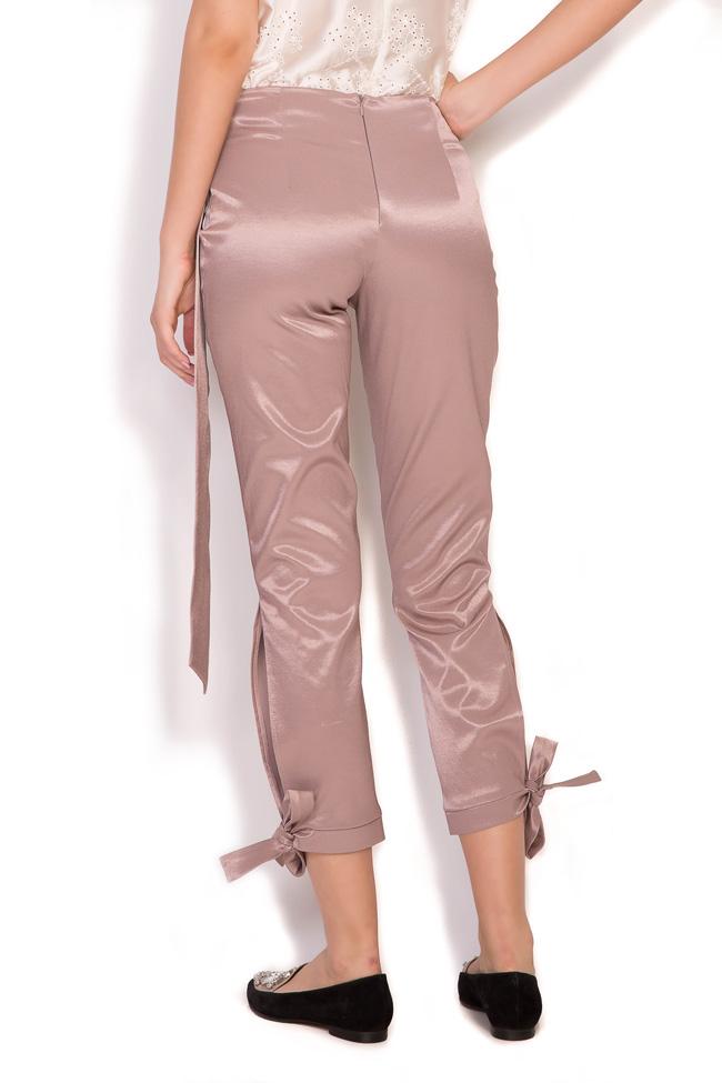 Pantaloni din amestec de bumbac satinat cu esarfe Hook DALB by Mihaela Dulgheru imagine 2