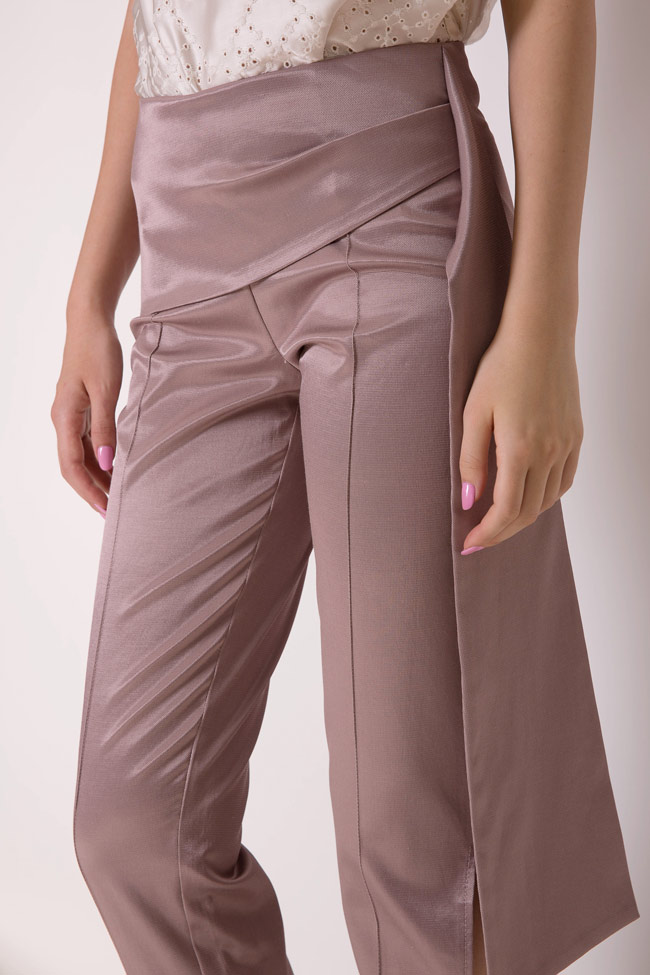 Pantaloni din amestec de bumbac satinat cu esarfe Hook DALB by Mihaela Dulgheru imagine 3