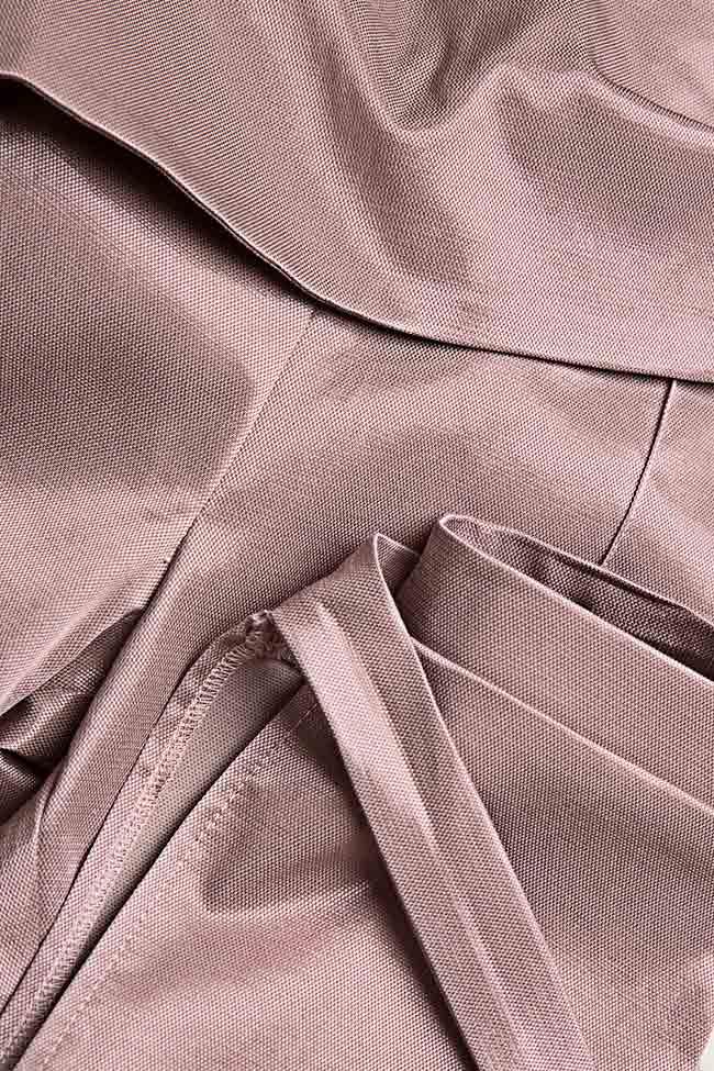 Pantaloni din amestec de bumbac satinat cu esarfe Hook DALB by Mihaela Dulgheru imagine 4