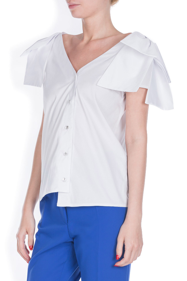 Nana asymmetric bow-detailed cotton shirt LRM image 1