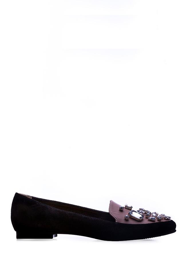 Ballerines en deux types de cuir et cristaux Giuka by Nicolaescu Georgiana  image 0