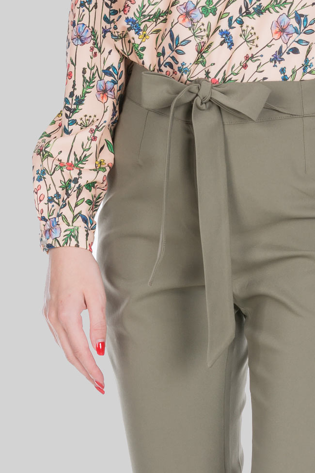 Belted cotton-blend wide-leg pants Ronen Haliva image 3