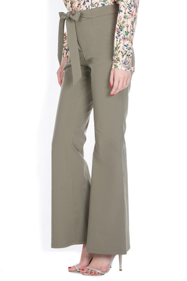 Belted cotton-blend wide-leg pants Ronen Haliva image 1