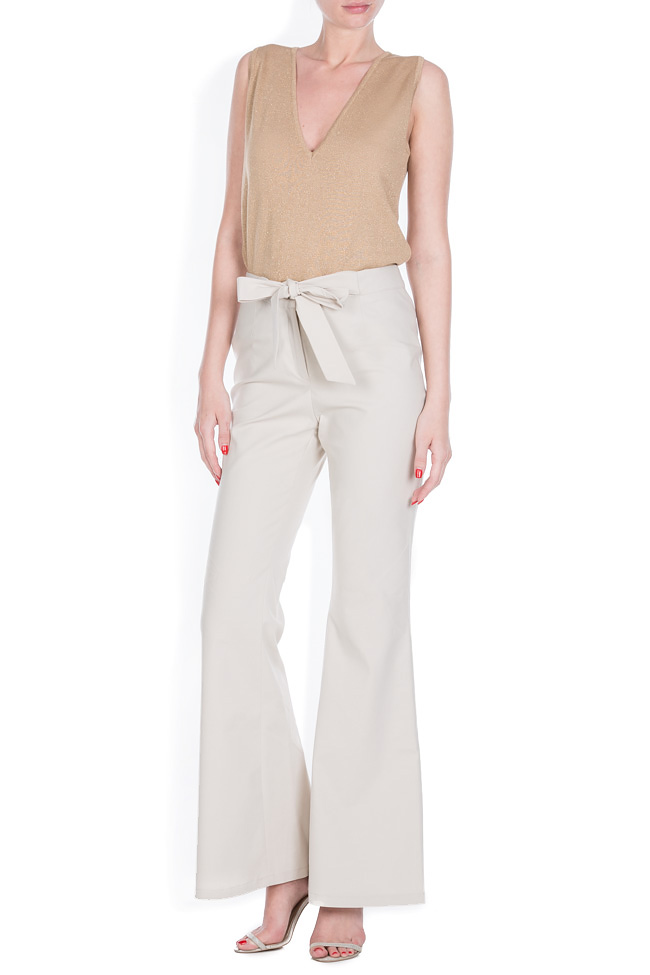 Belted cotton-blend wide-leg pants Ronen Haliva image 0