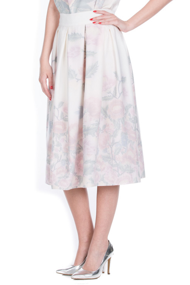 Printed cotton-blend midi skirt Dorin Negrau image 1
