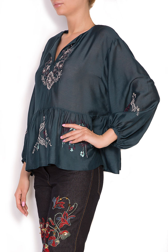 Ruffled embroidered silk cotton top Elena Perseil image 1