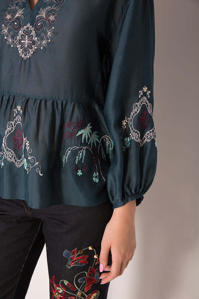 Ruffled embroidered silk cotton top Elena Perseil image 3