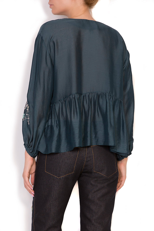 Ruffled embroidered silk cotton top Elena Perseil image 2