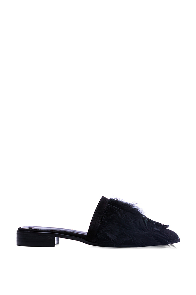 Feather-embellished suede mules Zenon image 0