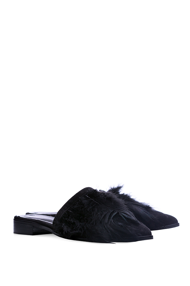 Feather-embellished suede mules Zenon image 1