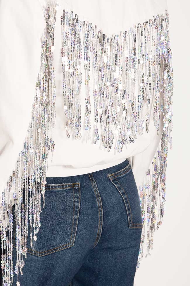 Fringed cotton bomber jacket Zenon image 3