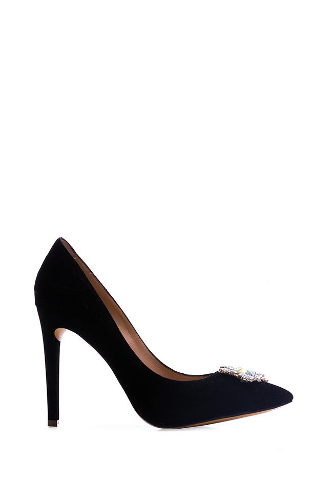 Pantofi din catifea accesorizati Impressive Hannami imagine 0