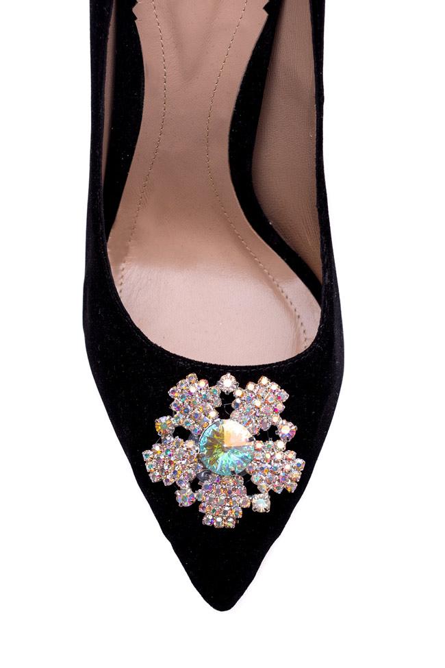 Pantofi din catifea accesorizati Impressive Hannami imagine 3