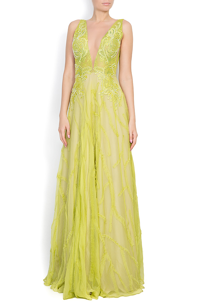 Harmony embroidered silk lace gown Nicole Enea image 0
