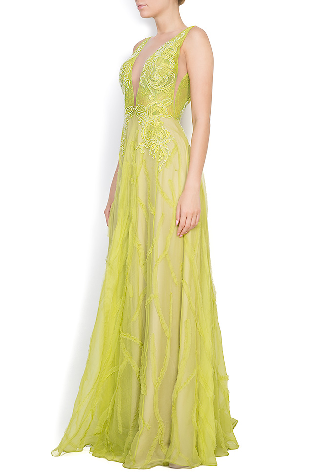 Harmony embroidered silk lace gown Nicole Enea image 1