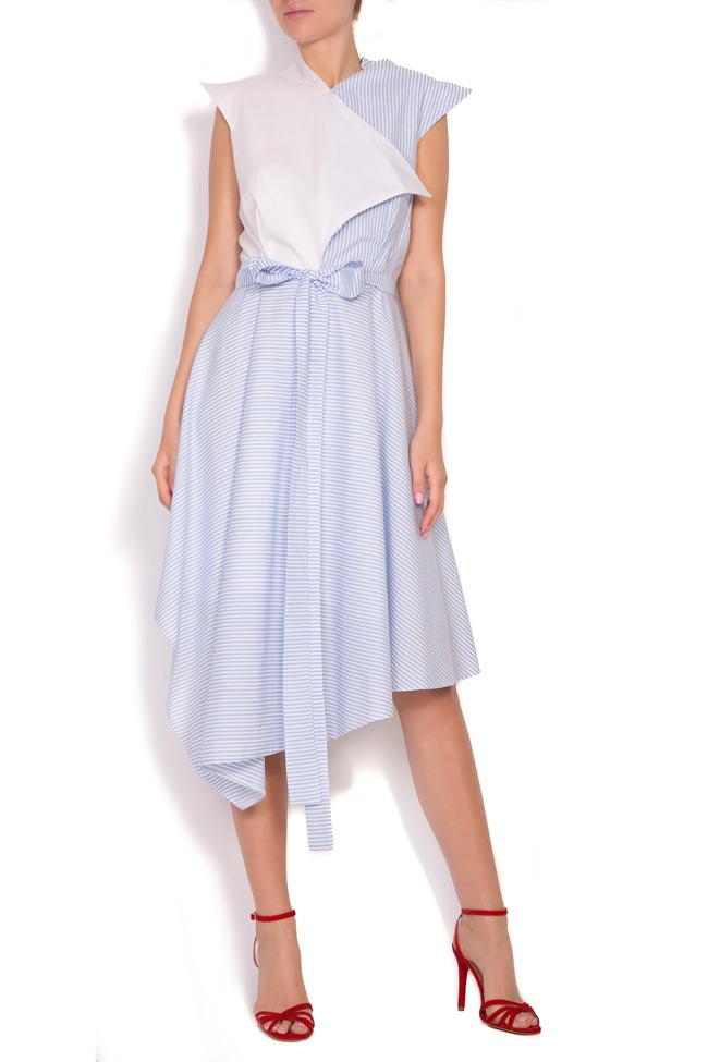 Asymmetric pleated striped cotton-poplin midi dress Larisa Dragna image 0