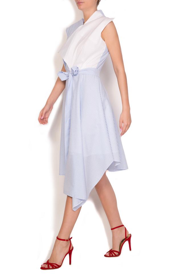 Asymmetric pleated striped cotton-poplin midi dress Larisa Dragna image 1