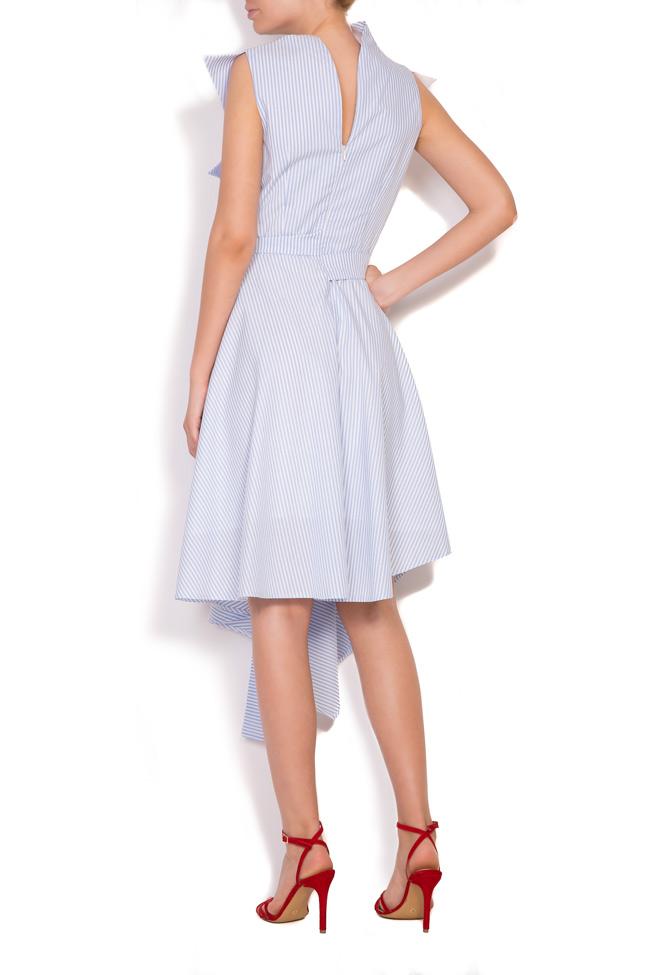Asymmetric pleated striped cotton-poplin midi dress Larisa Dragna image 2