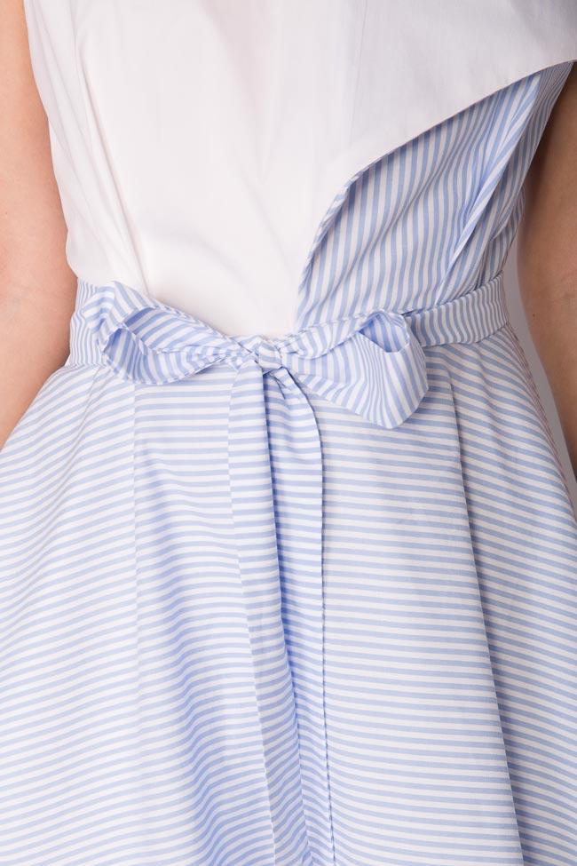 Asymmetric pleated striped cotton-poplin midi dress Larisa Dragna image 3
