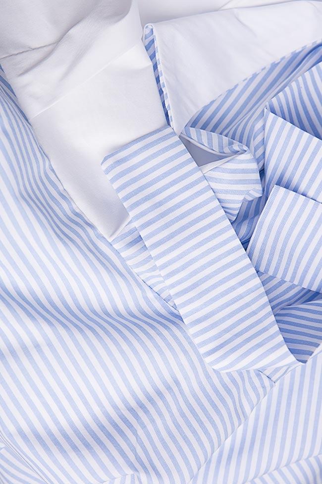 Asymmetric pleated striped cotton-poplin midi dress Larisa Dragna image 4