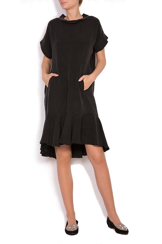 Asymmetric ruffled crepe mini dress  Larisa Dragna image 0