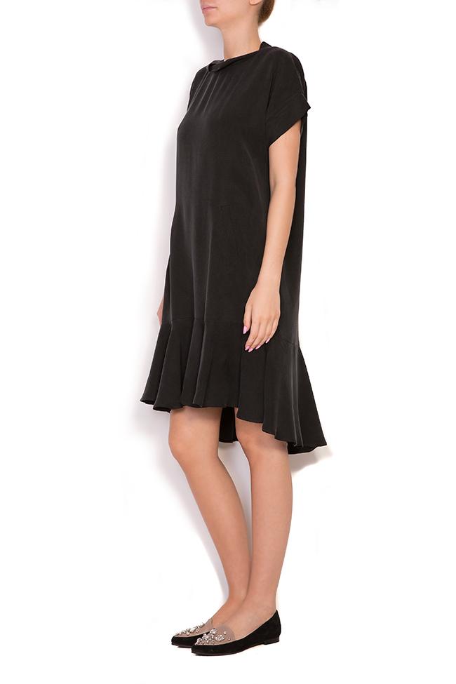 Asymmetric ruffled crepe mini dress  Larisa Dragna image 1