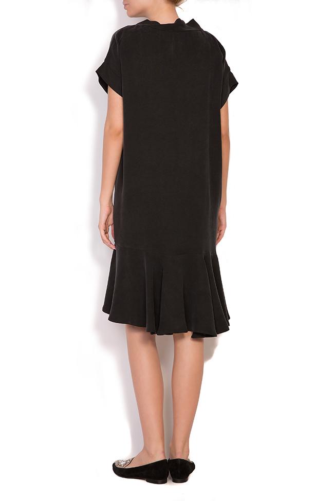 Asymmetric ruffled crepe mini dress  Larisa Dragna image 2