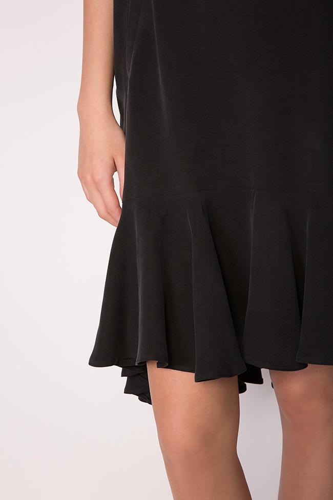 Asymmetric ruffled crepe mini dress  Larisa Dragna image 3