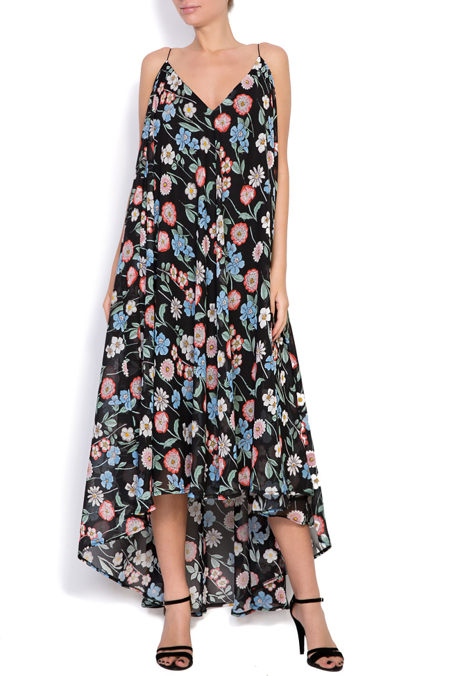Asymmetric printed chiffon midi dress Hard Coeur image 0