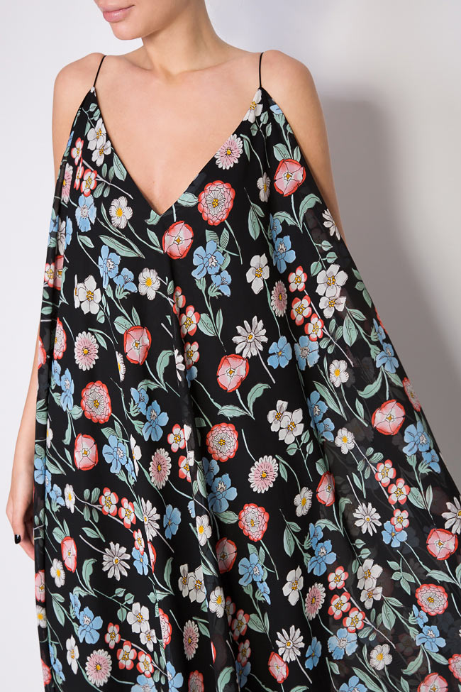 Asymmetric printed chiffon midi dress Hard Coeur image 3