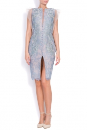 Nicole Enea Gentiana hand-embroidered silk Chantilly lace mini dress