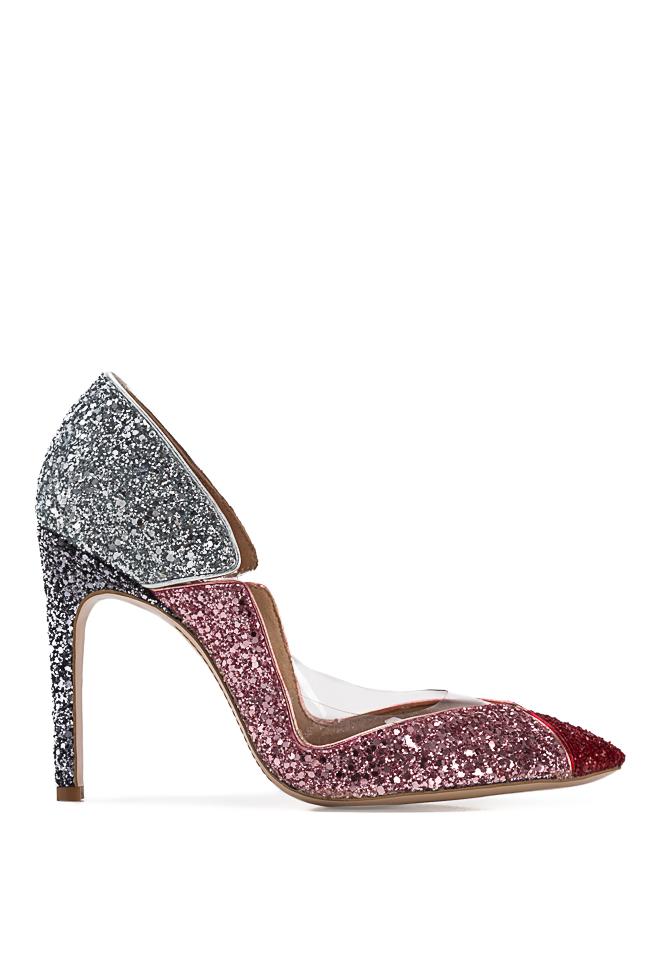 Pantofi din piele si sclipici cu insertii din PVC Tutti Frutti Mihai Albu imagine 0