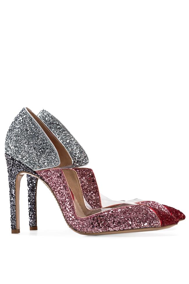 Pantofi din piele si sclipici cu insertii din PVC Tutti Frutti Mihai Albu imagine 1