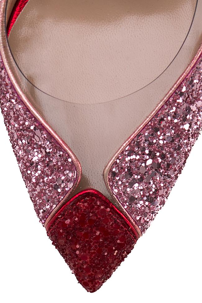 Pantofi din piele si sclipici cu insertii din PVC Tutti Frutti Mihai Albu imagine 3