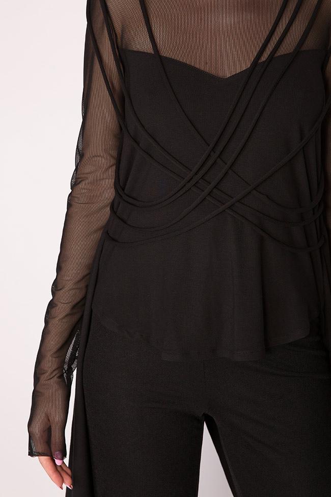 Bluza asimetrica din jerseu de bumbac cu insertii din tul Larisa Dragna imagine 3