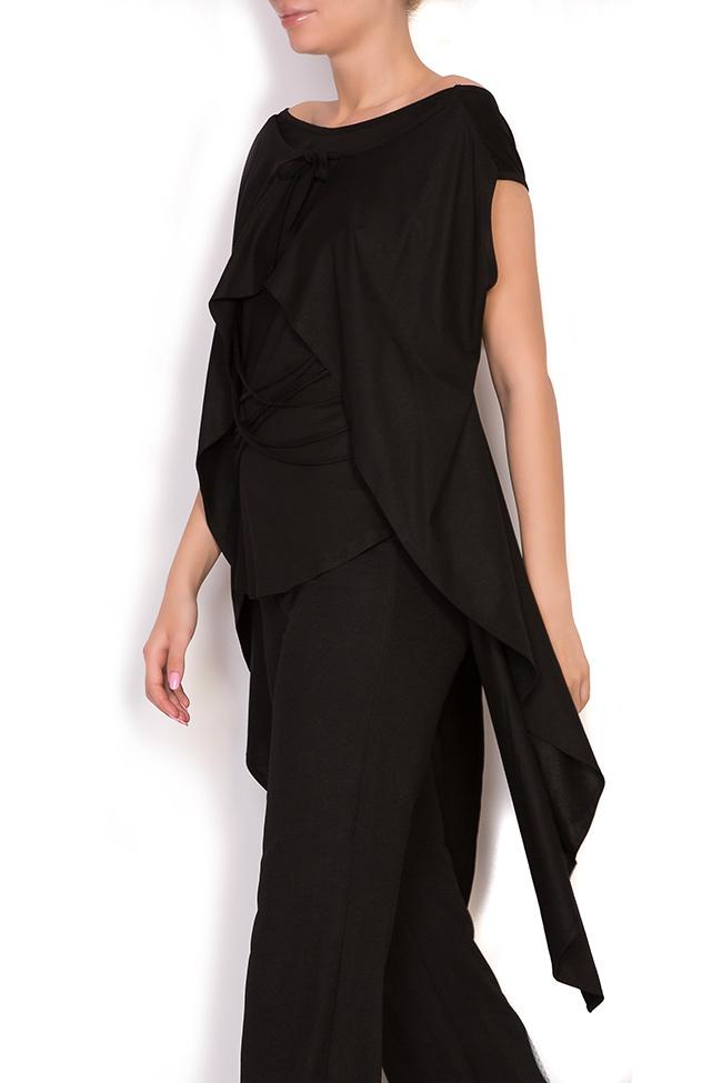 Bluza asimetrica din jerseu de bumbac cu snururi si aripi Larisa Dragna imagine 1