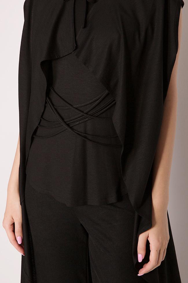 Bluza asimetrica din jerseu de bumbac cu snururi si aripi Larisa Dragna imagine 3