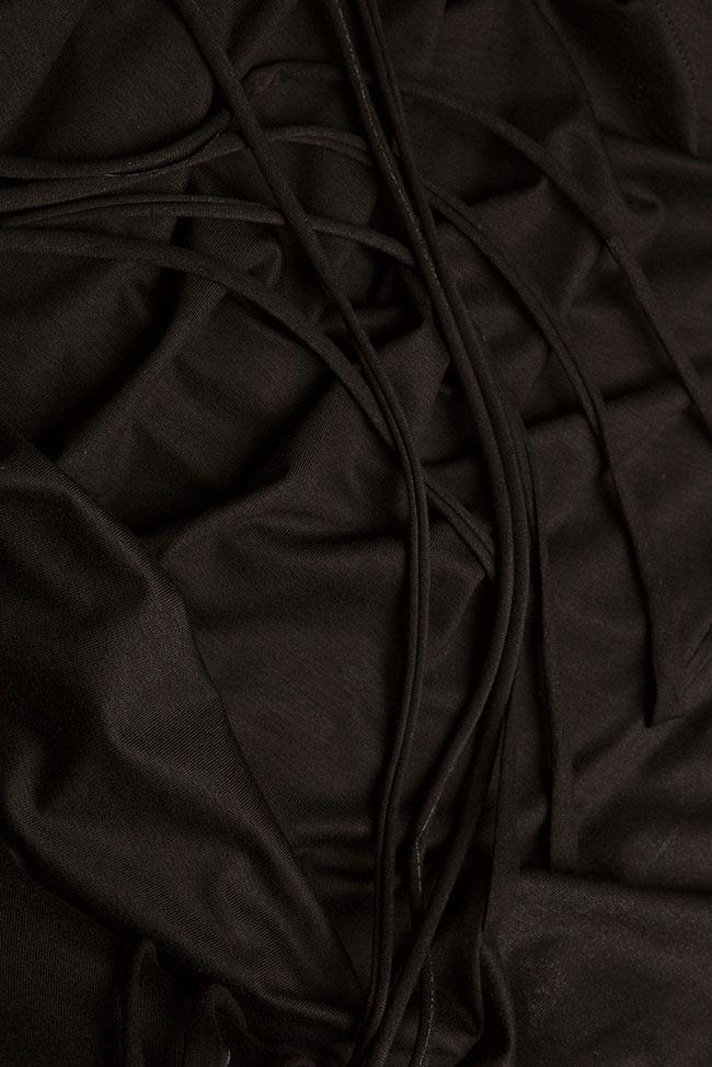 Bluza asimetrica din jerseu de bumbac cu snururi si aripi Larisa Dragna imagine 4