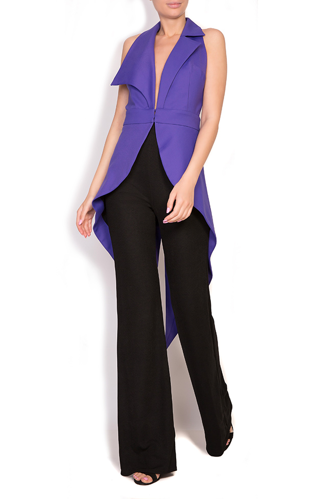 Open-back asymmetric crepe vest Larisa Dragna image 0