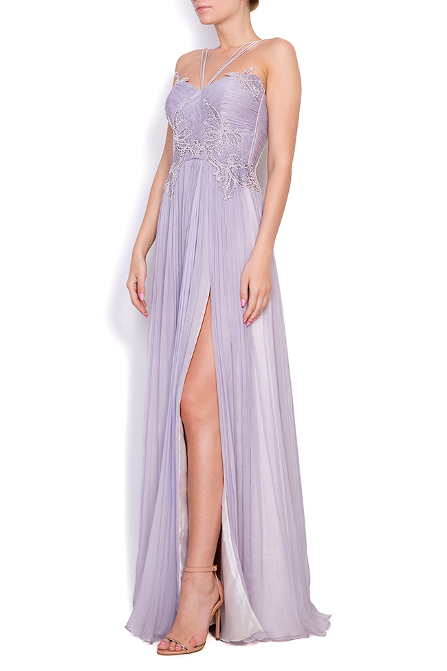 Lavender embroidered silk-mousseline gown Nicole Enea image 1