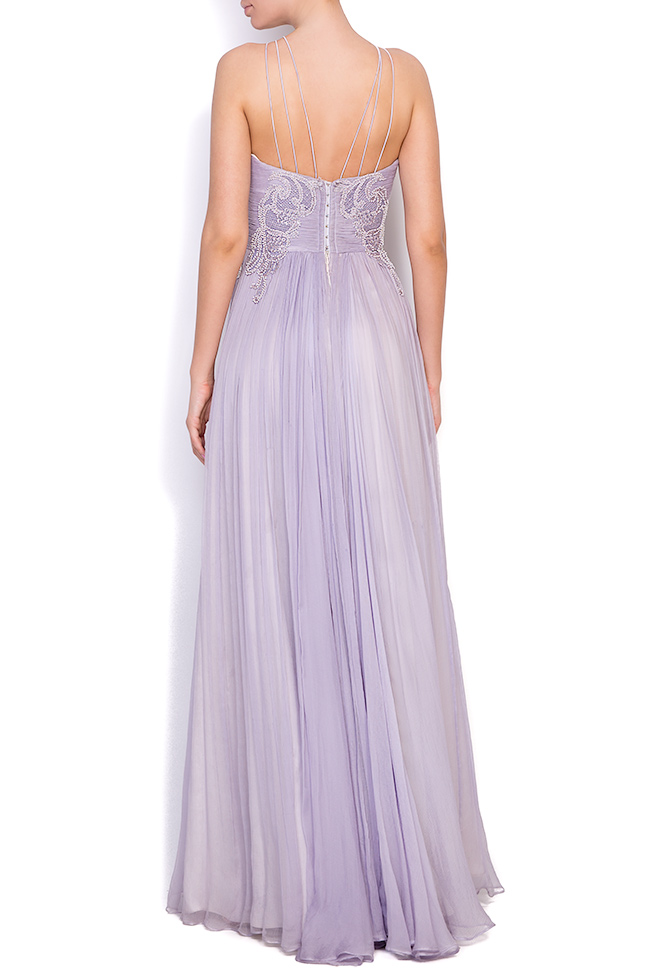 Lavender embroidered silk-mousseline gown Nicole Enea image 2