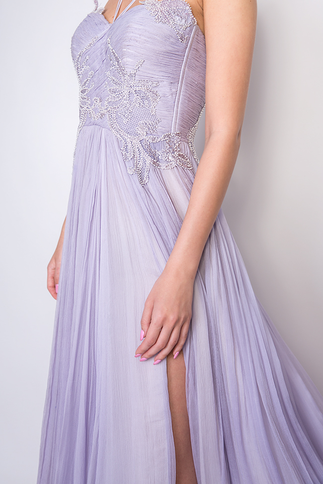 Lavender embroidered silk-mousseline gown Nicole Enea image 3