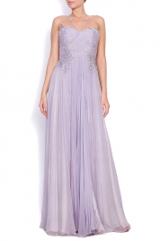 Nicole Enea Lavender embroidered silk-mousseline gown