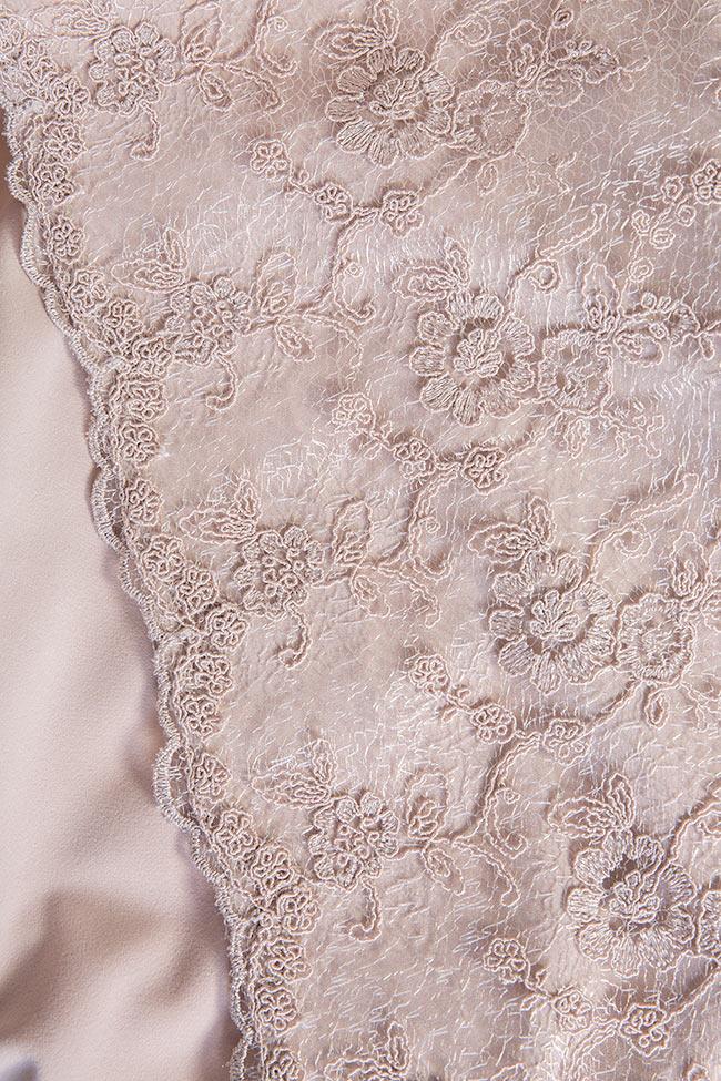 Rochie din crep brodata manualcu dantela Gladiola Nicole Enea imagine 4