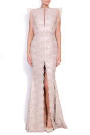 Nicole Enea Gladiola hand-embroidered crepe lace gown