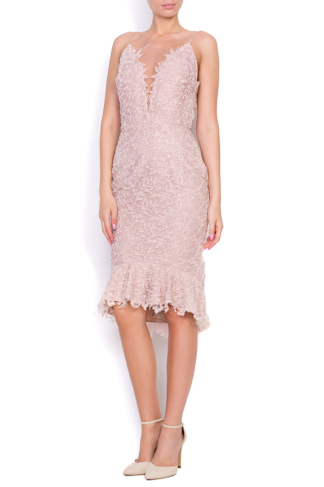 Dianthes embroidered open-back crepe lace dress Nicole Enea image 0