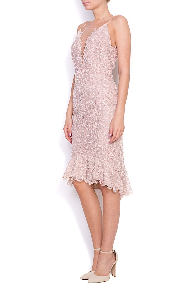 Dianthes embroidered open-back crepe lace dress Nicole Enea image 1