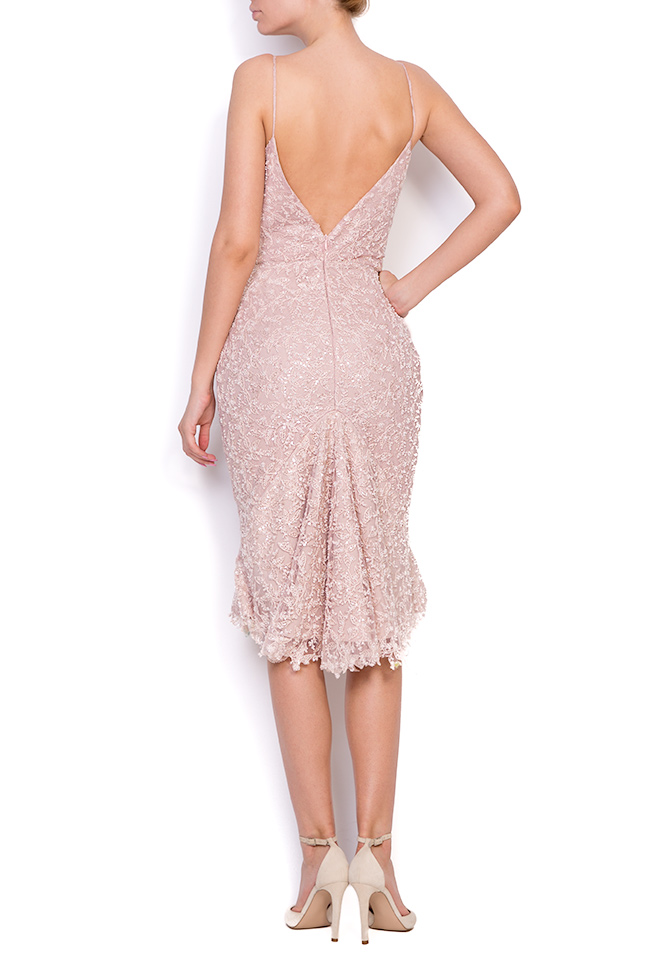 Dianthes embroidered open-back crepe lace dress Nicole Enea image 2