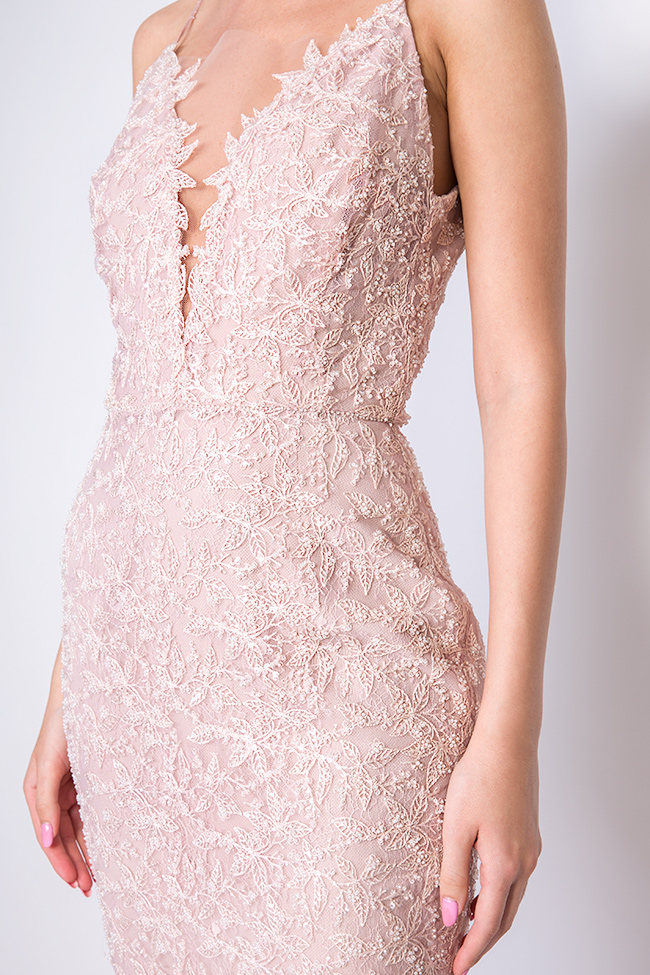 Dianthes embroidered open-back crepe lace dress Nicole Enea image 3