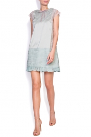 Nicole Enea Aster embroidered silk-blend taffeta mini dress
